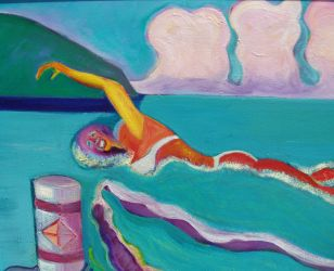 Micronesia Swimmer - original oil on canvas - 21 x 25 - click here for a larger image (~35KB)